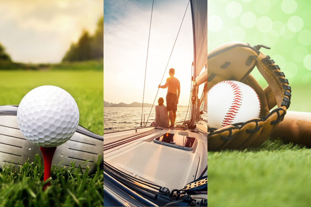 Collage: golf ball and club, two people on a boat at sunset, and a baseball and mitt
