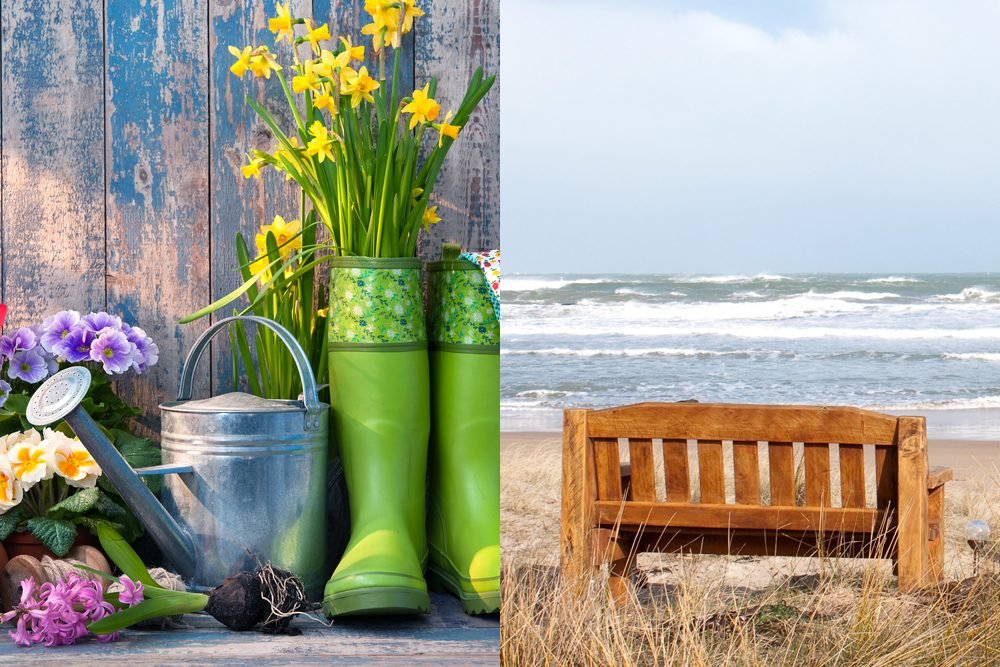 Collage: image of gardening boots and tools next to image of bench at the beach
