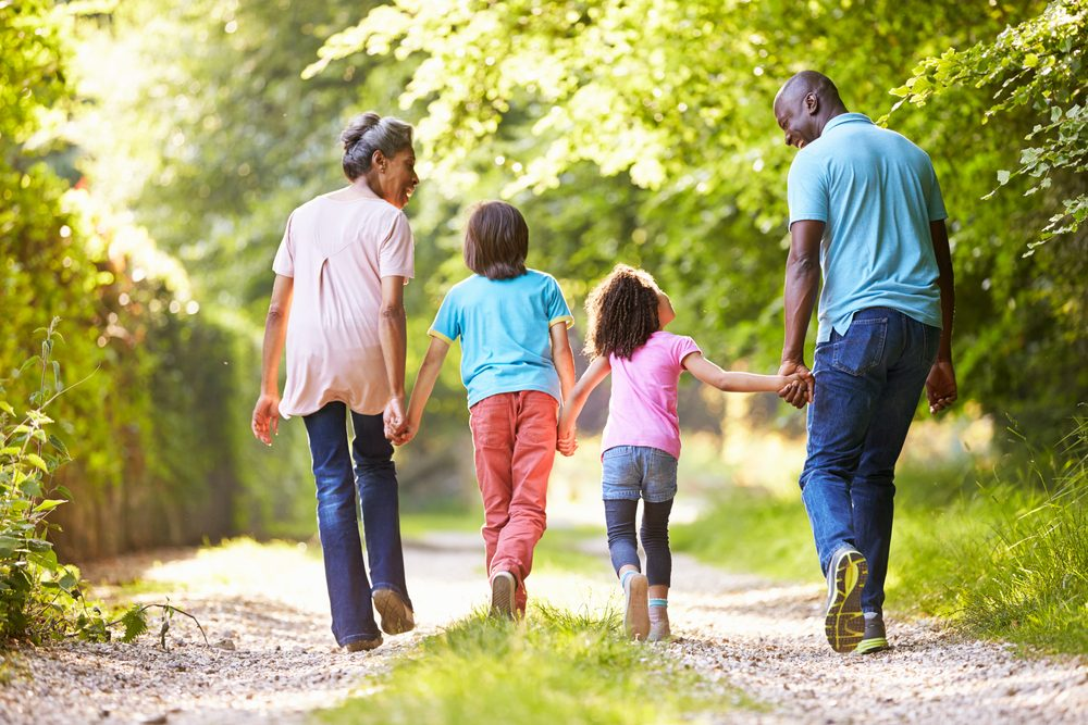 family of four, holding hands, walking along a wooded path