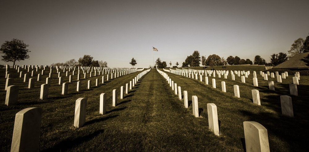Looking down a row at a vetrans national cemetery
